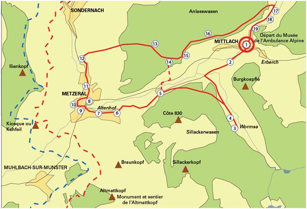 Plan du projet du sentier de mémoire à Mittlach